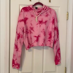 Wild Fable Tie-Dye Cropped Hoodie Fuschia Pink
